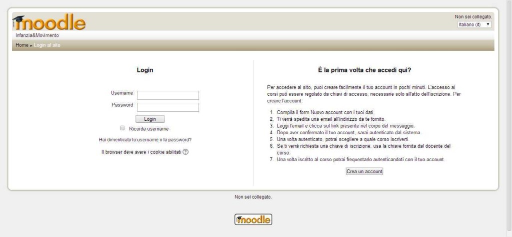 La schermata per entrare nel sito