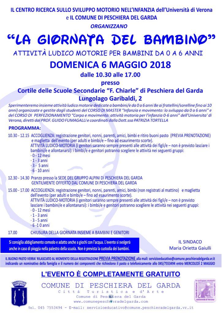 Giornata del bambino a Peschiera del Garda il 6 maggio 2018